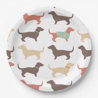 Fun Dachshund Dog Pattern Paper Plate