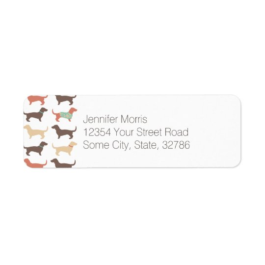 Fun Dachshund Dog Pattern Return Address Label