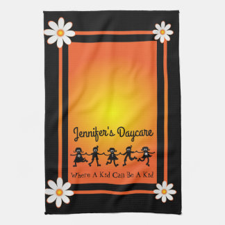 Fun Daisies & Kids Personalized Daycare Tea Towel
