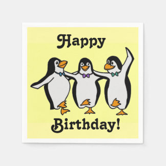 Fun Dancing Penguins Happy Birthday! Paper Serviettes