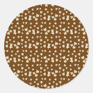 Fun Dark Brown and Linen Autumn Leaf Pattern Round Sticker