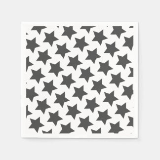 Fun Dark Grey Stars Pattern Paper Napkins
