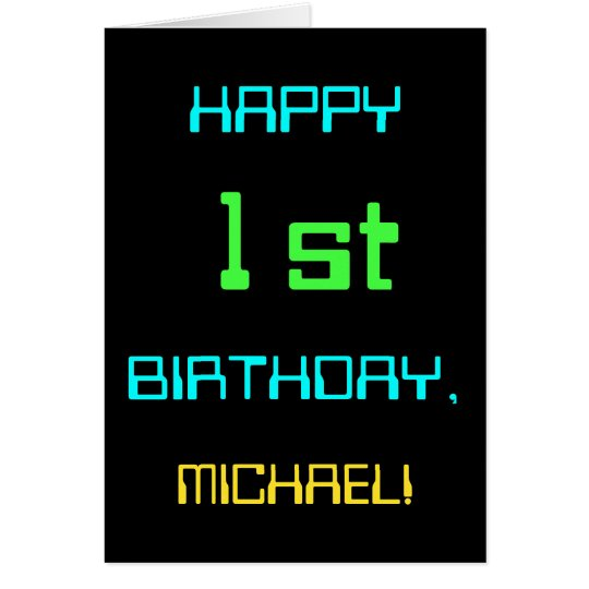 Fun Digital Computing Themed 1st Birthday Card