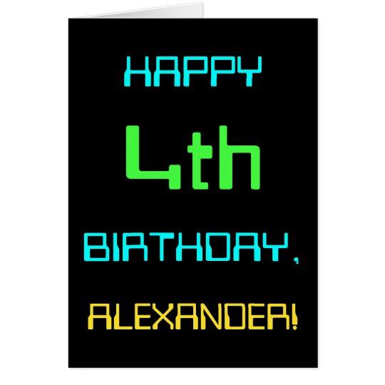 Fun Digital Computing Themed 4th Birthday Card