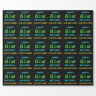 Fun Digital Computing Themed 81st Birthday Wrapping Paper