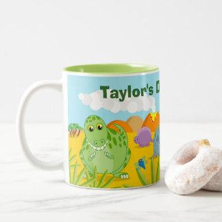 Fun dino prehistoric Jurassic dinosaur landscape, Two-Tone Coffee Mug