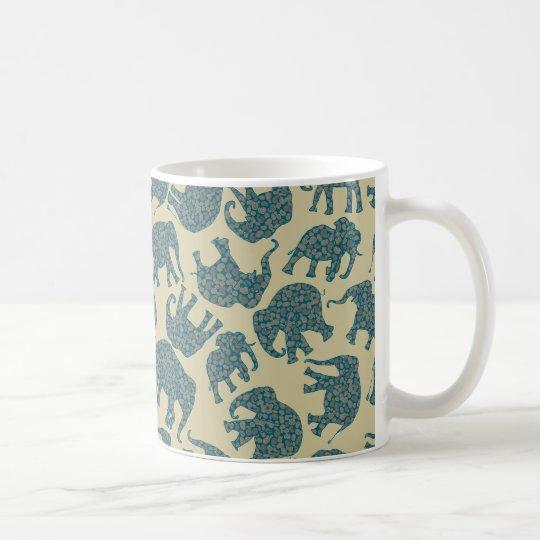 Fun Ditzy Paisley Elephants on Beige Coffee Mug