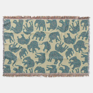 Fun Ditzy Paisley Elephants on Beige Throw Blanket