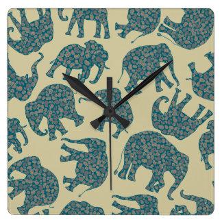 Fun Ditzy Paisley Elephants on Beige Wall Clock