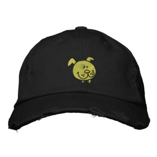 Fun dog (black outline) embroidered baseball caps