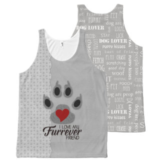 Fun Dog Lover Fashion with Paw Prints All-Over Print Tank Top