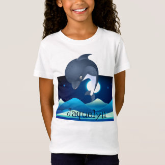Fun Dolphin Leaping in Moonlight T-Shirt