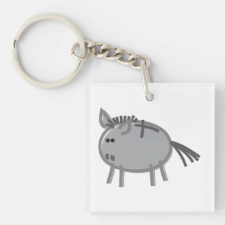 Fun Donkey on White Key Ring