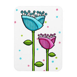 Fun Doodle Flowers blue pink dots Premium Magnet