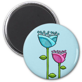 Fun Doodle Flowers blue pink Magnet