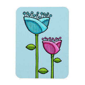 Fun Doodle Flowers blue pink Premium Magnet