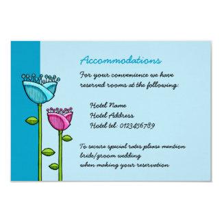 "Fun Doodle Flowers blue pink Wedding Enclosure 3.5"" X 5"" Invitation Card"