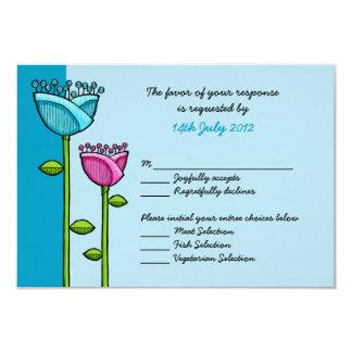 Fun Doodle Flowers blue pink Wedding RSVP Card 9 Cm X 13 Cm Invitation Card
