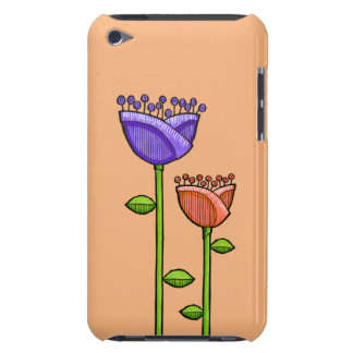 Fun Doodle Flowers orange purple iPod Touch Barely There iPod Cases