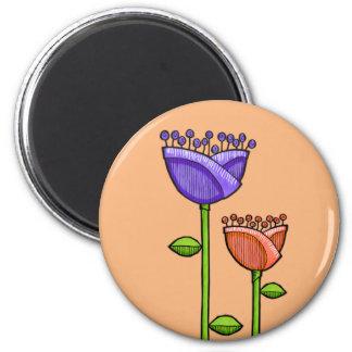 Fun Doodle Flowers orange purple Magnet