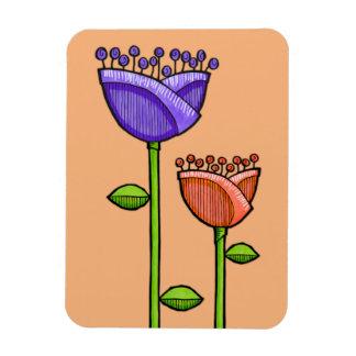 Fun Doodle Flowers orange purple Premium Rectangular Photo Magnet