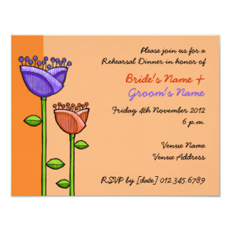 Fun Doodle Flowers orange purple Rehearsal 11 Cm X 14 Cm Invitation Card