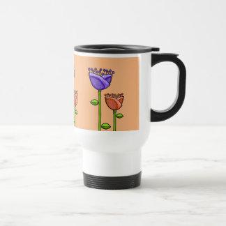 Fun Doodle Flowers orange purple Travel Mug