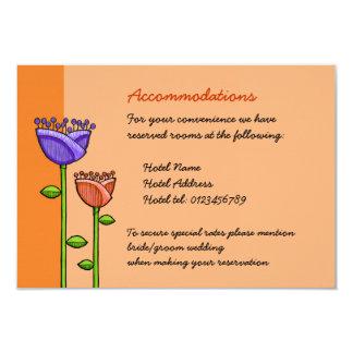 Fun Doodle Flowers orange purple Wedding Enclosure 9 Cm X 13 Cm Invitation Card