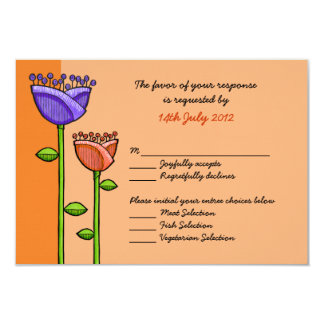 Fun Doodle Flowers orange purple Wedding RSVP Card 9 Cm X 13 Cm Invitation Card