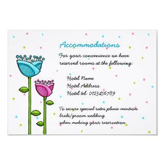 Fun Doodle Flowers pink blue dots Enclosure Card 9 Cm X 13 Cm Invitation Card
