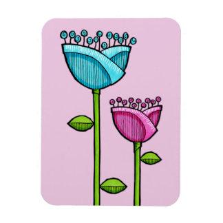 Fun Doodle Flowers pink blue Premium Magnet