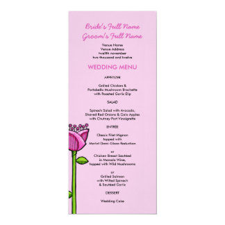 Fun Doodle Flowers pink blue Wedding Menu 10 Cm X 24 Cm Invitation Card