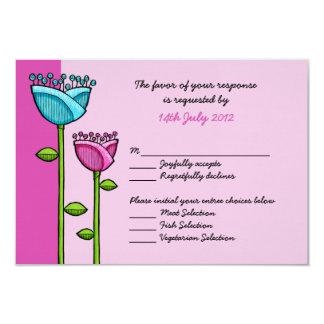 Fun Doodle Flowers pink blue Wedding RSVP Card 9 Cm X 13 Cm Invitation Card