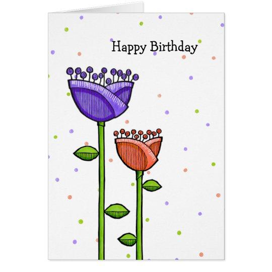 Fun Doodle Flowers purple orange dots Birthday Card