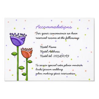 "Fun Doodle Flowers purple orange dots Enclosure 3.5"" X 5"" Invitation Card"