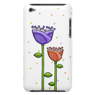 Fun Doodle Flowers purple orange dots iPod Touch Case-Mate iPod Touch Case