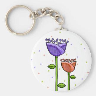 Fun Doodle Flowers purple orange dots Key Chains