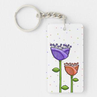 Fun Doodle Flowers purple orange dots Keychain