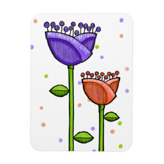 Fun Doodle Flowers purple orange dots Premium Rectangular Photo Magnet