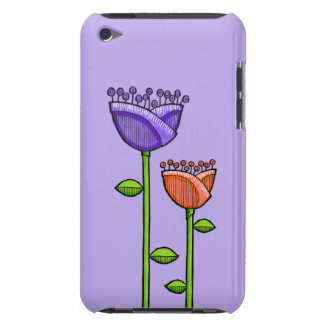 Fun Doodle Flowers purple orange iPod Touch Barely There iPod Covers