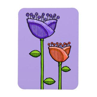 Fun Doodle Flowers purple orange Premium Rectangular Photo Magnet