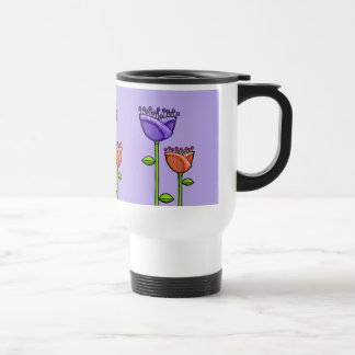Fun Doodle Flowers purple orange Travel Mug