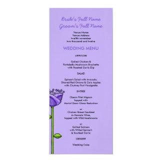 Fun Doodle Flowers purple orange Wedding Menu 10 Cm X 24 Cm Invitation Card