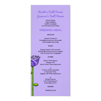 Fun Doodle Flowers purple orange Wedding Menu Card