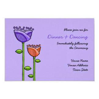 Fun Doodle Flowers purple orange Wedding Reception 9 Cm X 13 Cm Invitation Card