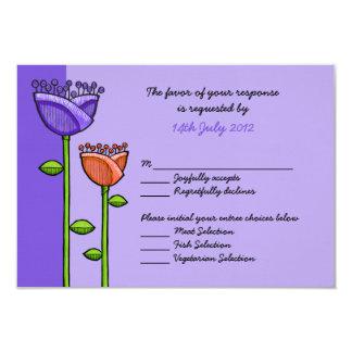 Fun Doodle Flowers purple orange Wedding RSVP Card 9 Cm X 13 Cm Invitation Card