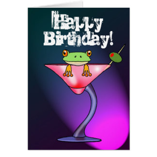 Fun drunk frog happy birthday card