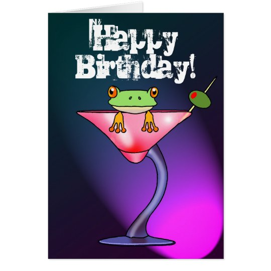 Fun drunk frog happy birthday card
