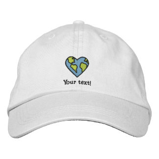 Fun Earth Heart Embroidered Icon Baseball Cap