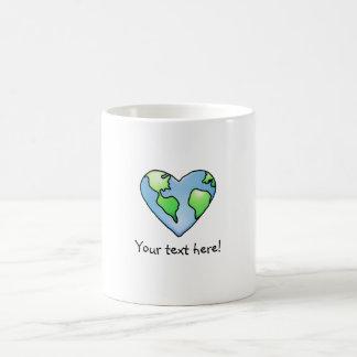 Fun Earth Heart Shaded Cartoon Style Icon Coffee Mug